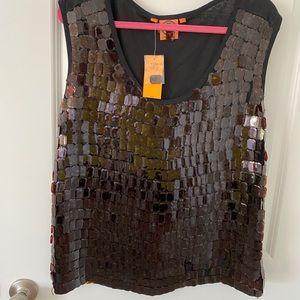 Tory Burch large black tortoise top shirt shell